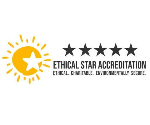 ETHICAL STAR ACCREDITATION ETHICAL. CHARITABLE. ENVIRONMENTALLY SECURE. trademark
